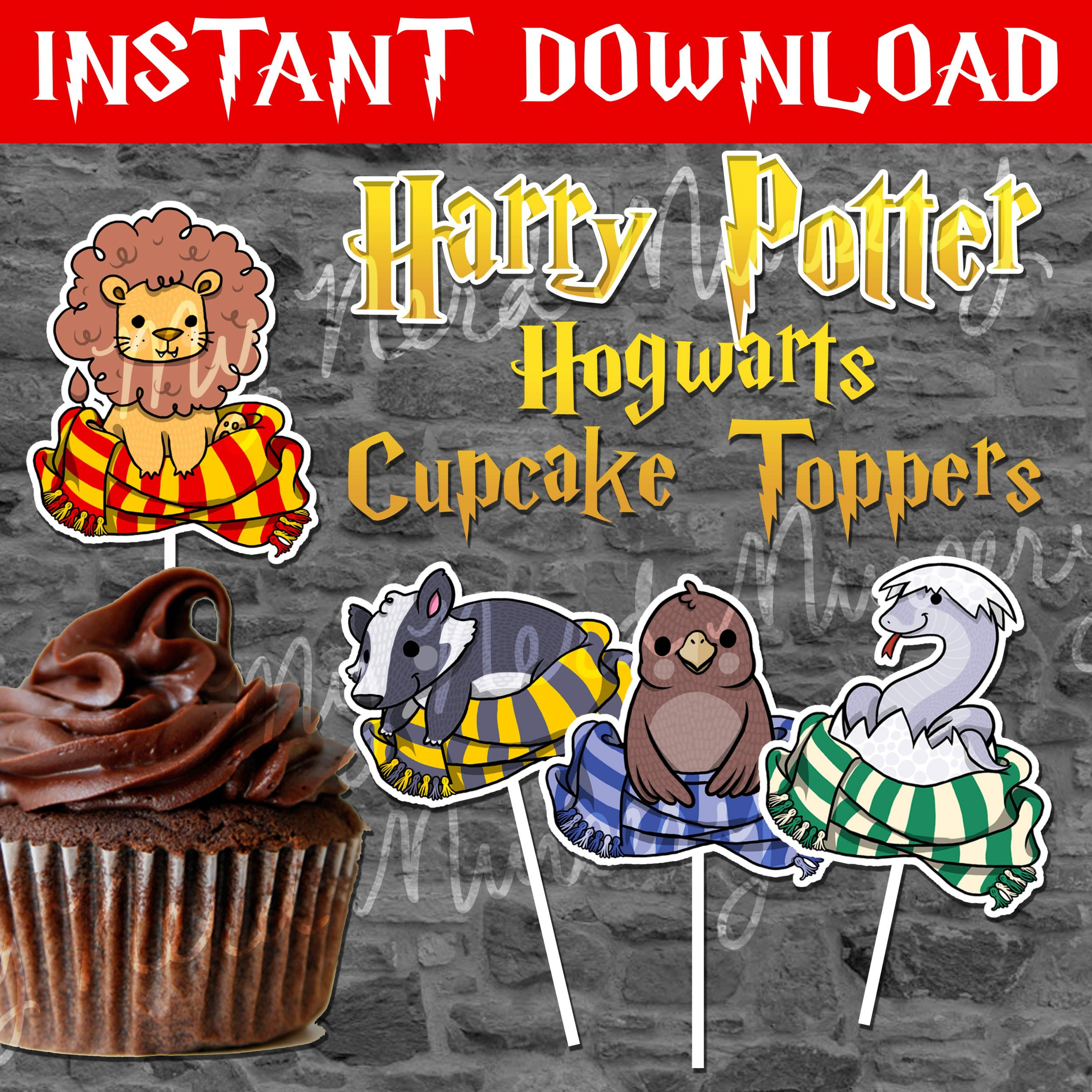 Harry Potter Party Hogwarts Cupcake Toppers