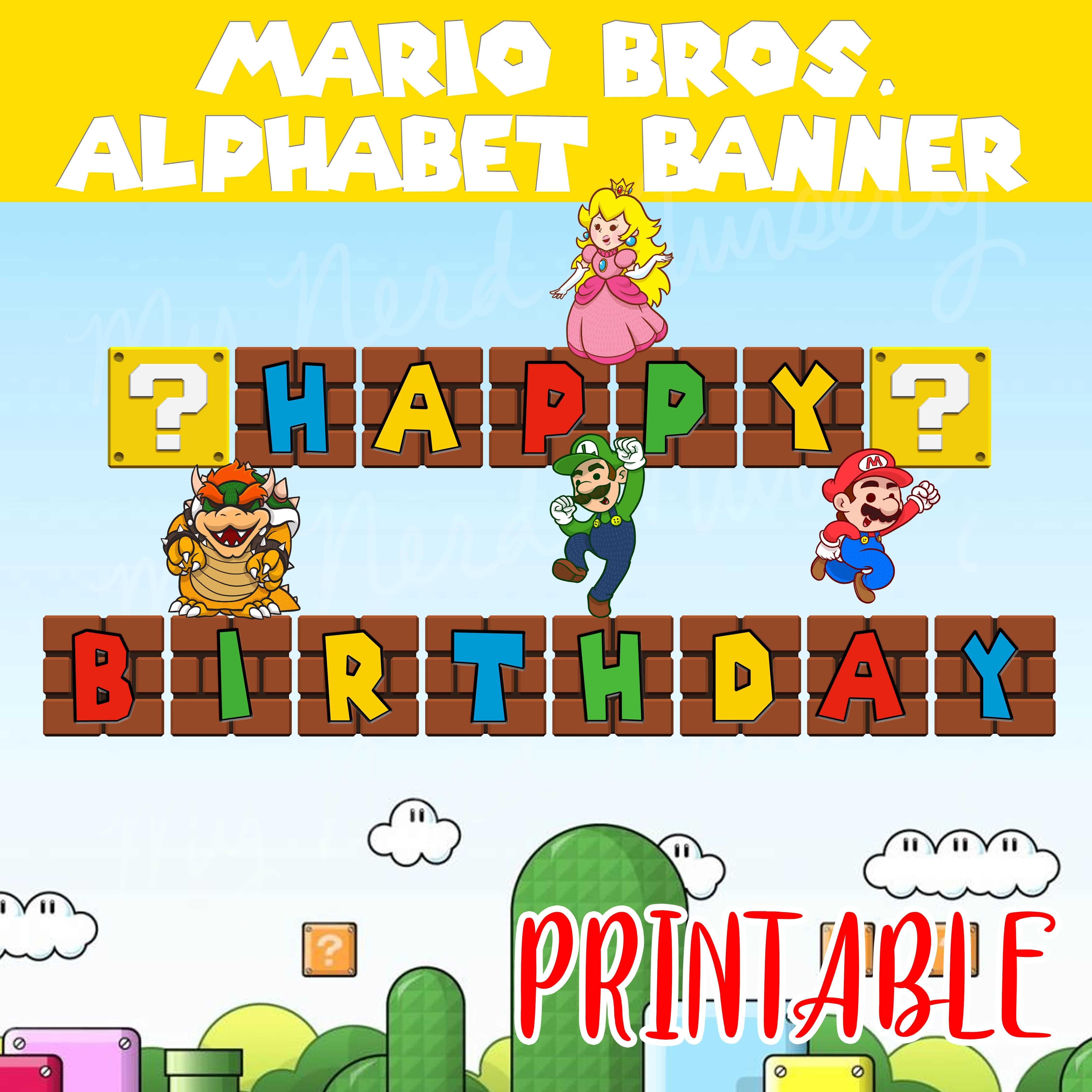 Mario Bros Party Alphabet Banner My Nerd Nursery